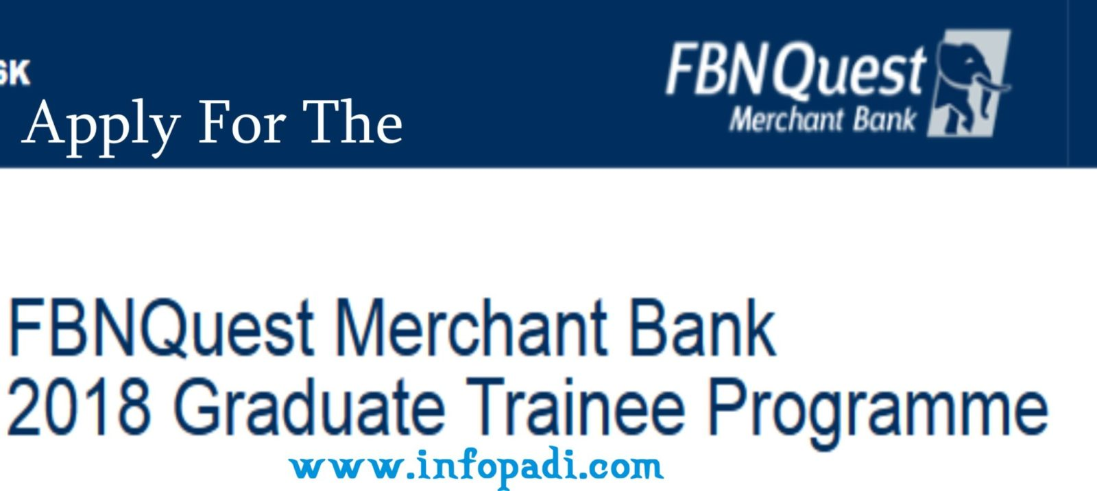 Apply for the First Bank of Nigeria Graduate Trainee Job 2018- Application guidelines and tips