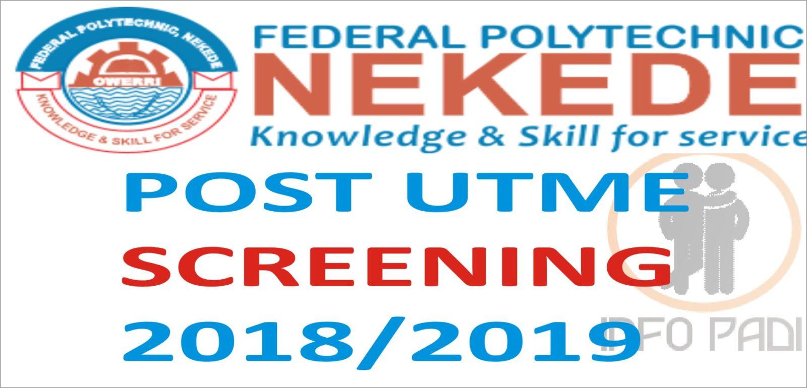 Federal Polytechnic Nekede 2019/2020 Post-UTME Screening Exercise Application Form