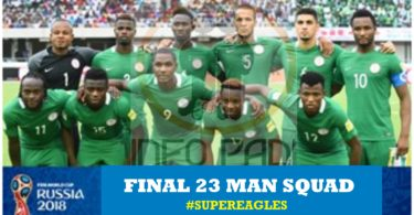 Nigeria Final Squad for Russia 2018- View the full Super Eagles Final 23 Man List